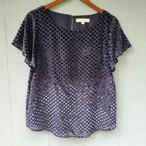 Loft Navy Blue Velvet Polka Dot SS Blouse Medium